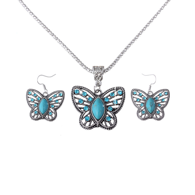 Fashion Selling Classic Turquoise Butterfly Shaped Pendant Necklace Dangler Earrings Product Jewelry-003-Set(China (Mainland))