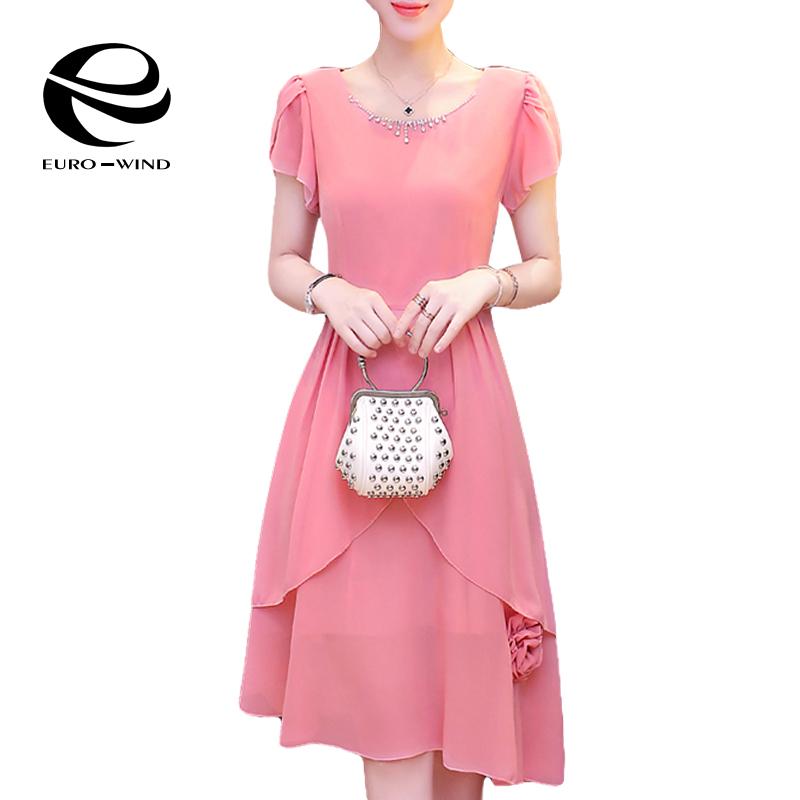 L-4XL 2016 Summer Women Petal Sleeve Appliques Diamonds Asymmetric Pink Chiffon Dress Long Maxi Dresses with 3D Flowers Vestidos(China (Mainland))