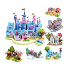 Baby Kids Educational Toy Lovely Cartoon Castles DIY 3D Paper Puzzle(China (Mainland))
