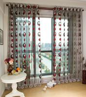 Circle design organza window screening sheer jacquard transparent sheer curtains