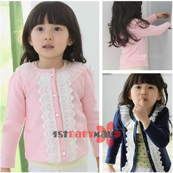 [1st baby mall] 5pcs/lot baby girls 2013 autumn lace paragraph long sleeve cardigan baby clothing coat girls outfits pink/blue