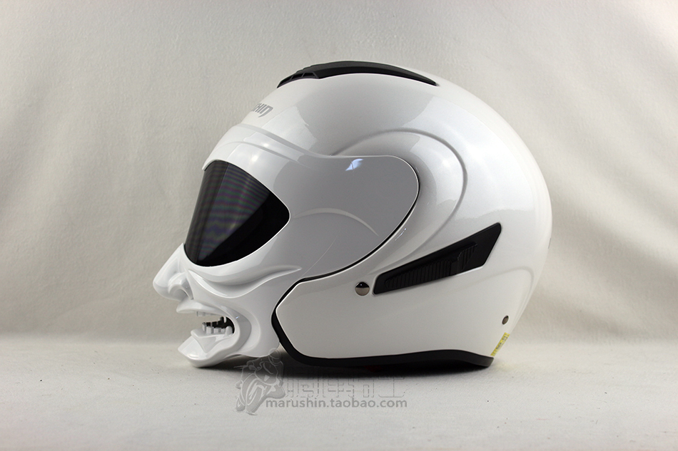 Free shipping Malu Shen authentic designer marushin C609 dual lens motorcycle helmet half helmet pearl white(China (Mainland))