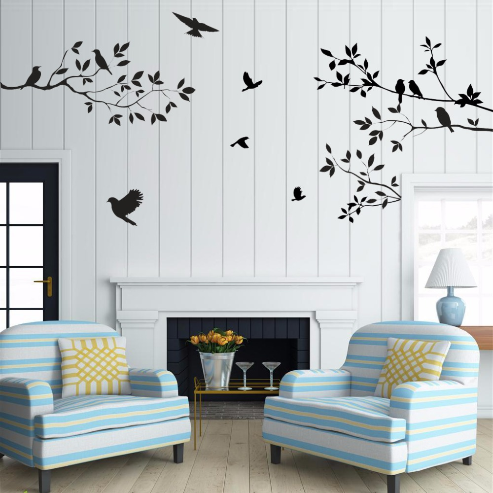 Sale birds tree wall stickers home decor living room diy for Stickers decorativos