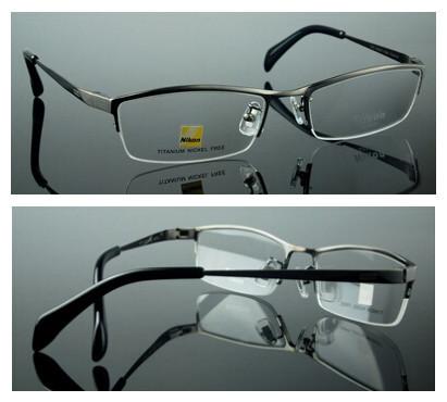 Pure Titanium Prescription Eyeglass Frames Sports Business Men's Fashion Semi-Rimless Glasses Frame Men Eyeglasses Silhouette(China (Mainland))