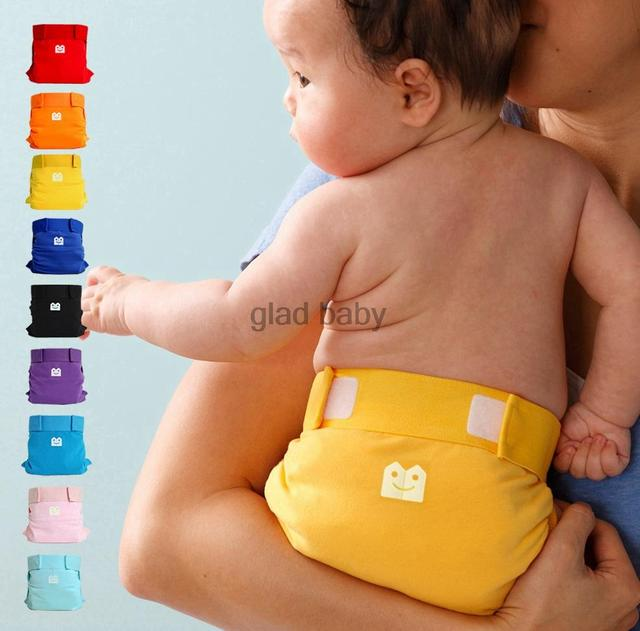 Freeshipping Gladbaby cloth diaper 100% cotton 9 color nappies leak-proof pocket diapers urine pants diaper pants baby gift
