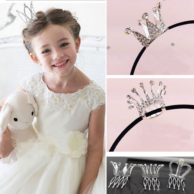 2016 Newest wholesale 6pcs/lot cute rhinestone hairbands little girls crown hairbands for baby girls(China (Mainland))