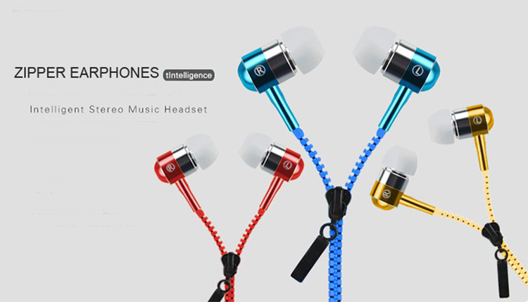 Metal Zipper Earphone Headphones 3.5mm In-Ear Wired Earphones With Microphone Stereo Bass Headset For Mobile Phone MP3/4