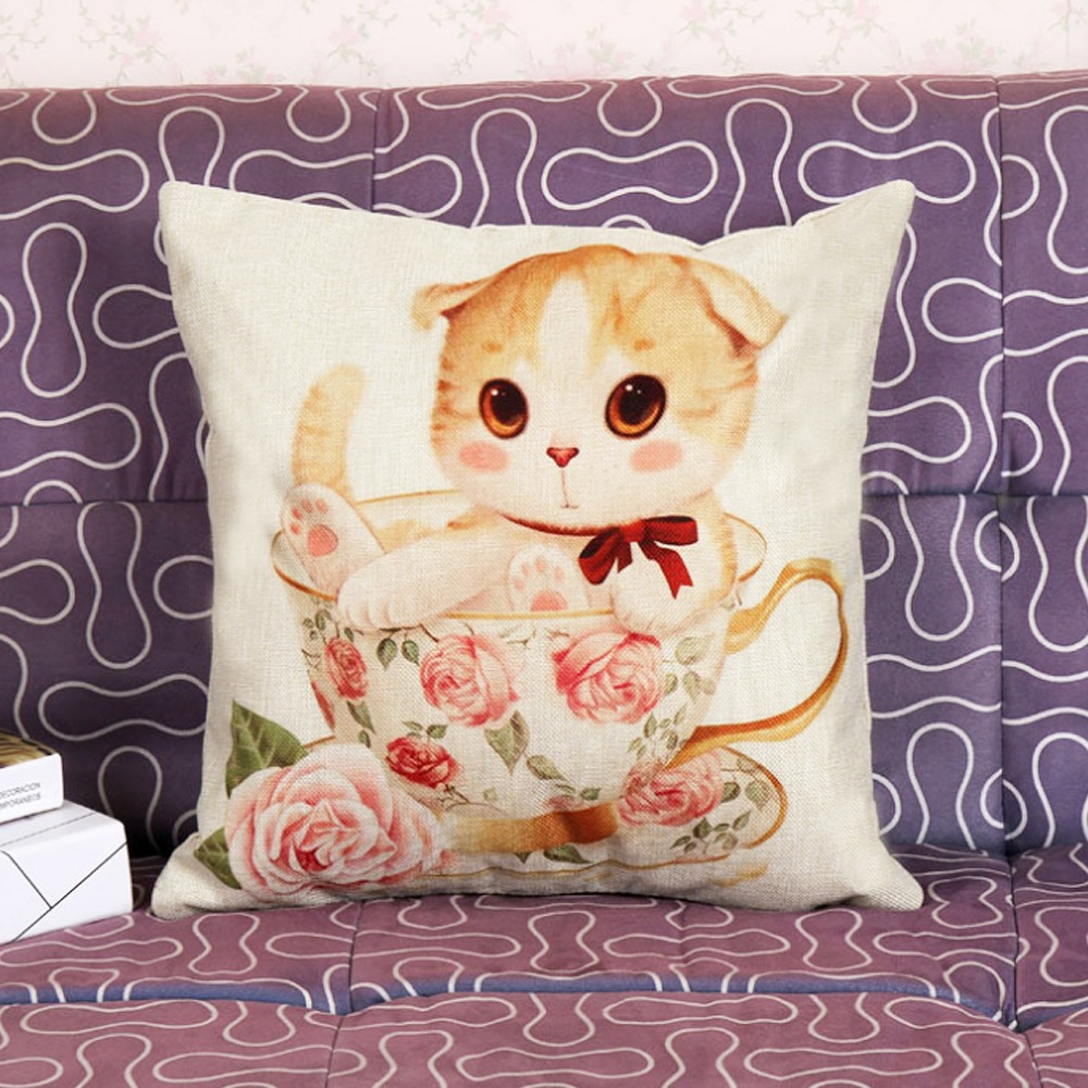 1 Pcs 45 45cm Lovely Cat Cushions Linen Cushion Cover Creative Pet Cats Pillow For Living