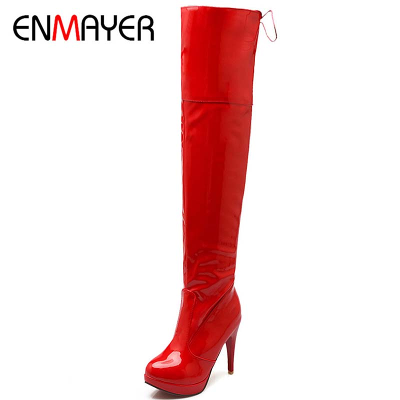 ENMAYER Big Size 34-43 Patent  Leather Over-the-Knee Round Toe Thin High Heels Long  Boots For Women 3-color New Fashion Boots<br><br>Aliexpress