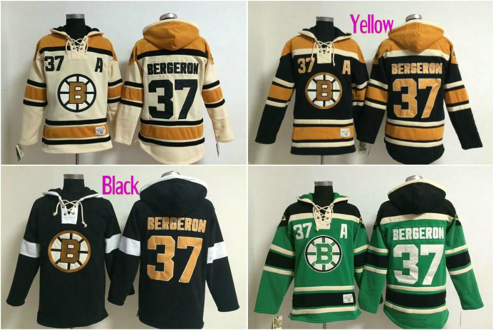 Best quality Mens 37# Patrice Bergeron Ice Hockey Hoodies Boston Bruins Long Sleeve Warm Hooded Sweatshirt Embroidery Name(China (Mainland))