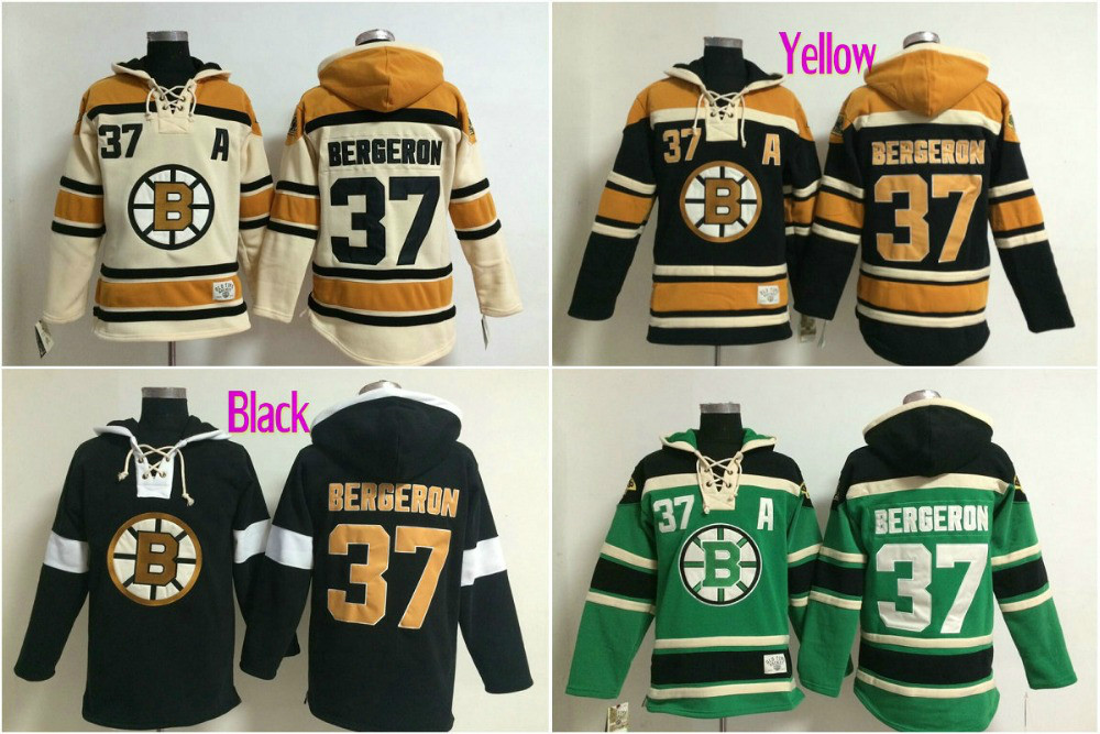 Best quality Mens 37# Patrice Bergeron Ice Hockey Hoodies Boston Bruins Long Sleeve Warm Hooded Sweatshirt Embroidery Name(China (Mainland))