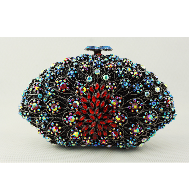 Cheap Brand Name Purse for Women Fashion Crystal Clutch Evening Bag Black Chain Pillow Shape Female Bridal Clutch for Wedding(China (Mainland))