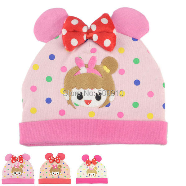 Lovely Dotted Baby Hat Mickey Little Girl Spring Autumn Beanies Cap Infant Cartoon Hats Cap for 3-8M 5pcs SW013(China (Mainland))