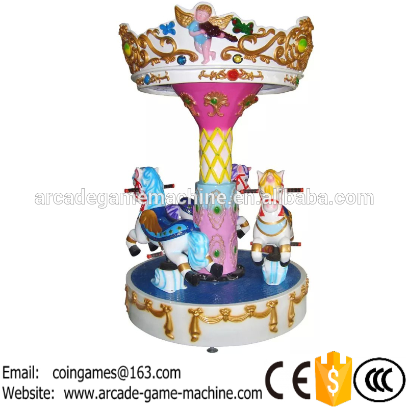 Amusement Park Equipment Indoor Coin Operated Game Machine Funfair Kiddie Rides 3 Seats Kids Carousels Horse For Sale(China (Mainland))