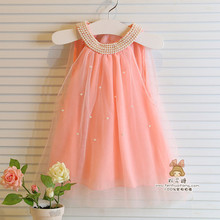 2015 Summer Girls Pleated Chiffon One-Piece Dress With Paillette Collar Children Colthes For Kids Baby, Pink/white