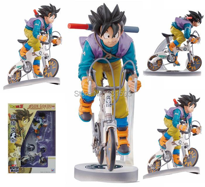 Japanese Anime Dragon Ball Z Sun Gokou Riding Bicycle Desktop Real McCOY Series 02 Action Figure Collectible Toy Free Shipping(China (Mainland))