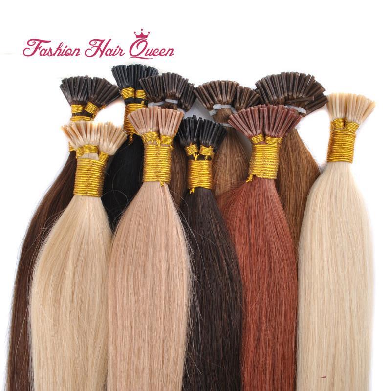 "1g/strand 50pcs/pack I Tip Hair Extension Brazilian Remy Virgin Human Hair Keratin Capsule 18""20""22""24"" 45cm-60cm 12color(China (Mainland))"