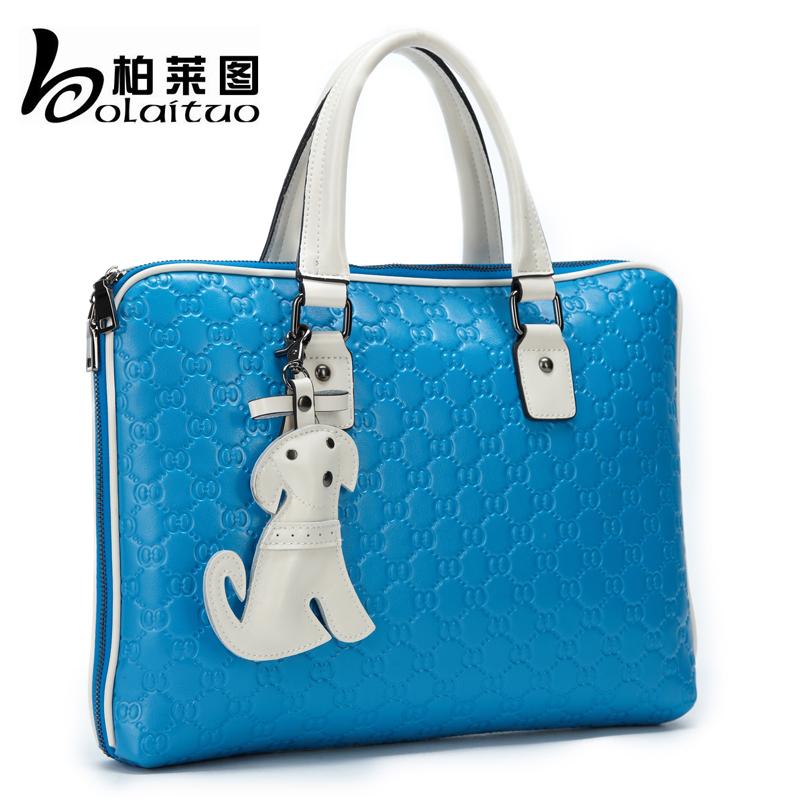 Women's handbag 2014 preppy style candy color square handbag cross-body laptop bag puppy package(China (Mainland))