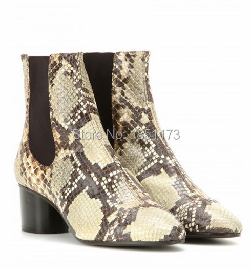 new python boots mid-heel round toe leather mid-calf boots snakeskin print chunky heels boots slip on boots spring autumn shoes(China (Mainland))