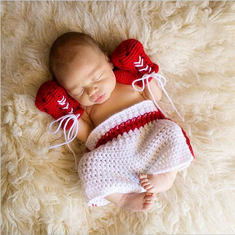 Newborn Photography Props Baby handmade crochet Infant Knitted Costume Kids Boy Fotografia Wool Boxer Outfits QY-757(China (Mainland))