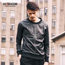 2016 Mens Fashion Hoodies,Outerwear Pullovers brand Hip Hop,hoodie sweatshirt pu leather hiphop sweatshirt mens cross zipper Top