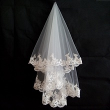 Romantic 1.5 Meters One Layer Wedding Veil Lace Appliques Tulle Bridal Veil Wedding Accessories(China (Mainland))