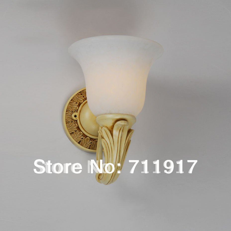 Decorative Wall Lamp Shades : E27 Indoor lighting fixture home or hotel decorative room wall lamp finture with glass shade-in ...