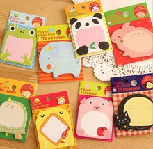 Cute Lovely Animals Memo Pad Sticky Note Sticker Label Paper notes on paper zoo animal cartoon stickers Free shipping