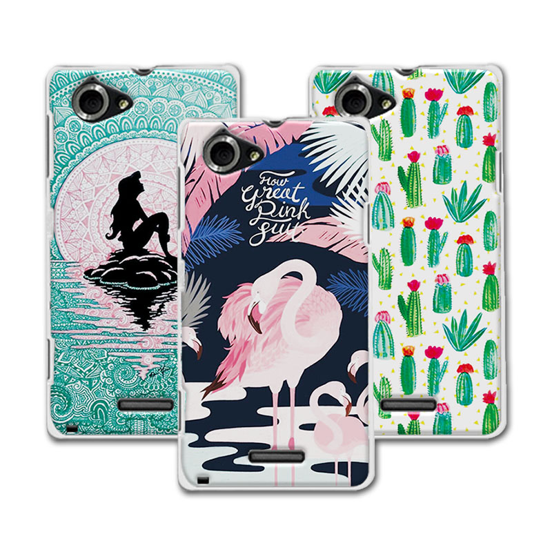 Sony Xperia L Cases Sony Xperia L S36h C2105 C2104 coque Mermaid Painting Hard Plastic Case Sony S36H Case Cover