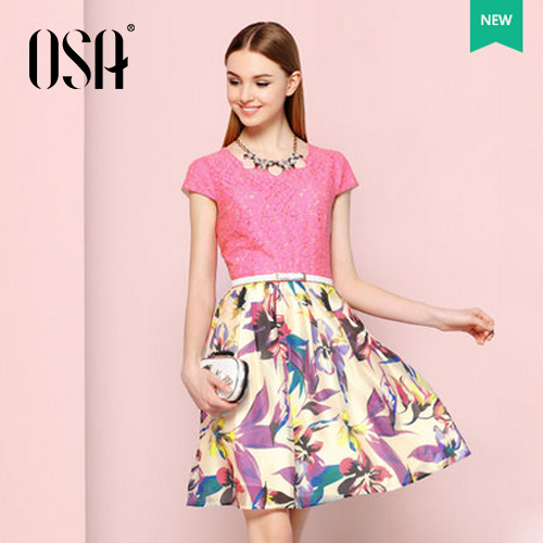 OSA 2015 Women Casual Lace Print Summer Dress Above Knee Puff Sleeve Vestidos A-line Dresses Without Belt And Necklace SL515049(China (Mainland))