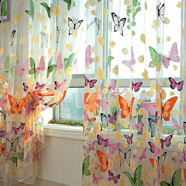 Гаджет  Brand New New Butterfly Printed Tulle Voile Door Window Balcony Sheer Panel Screen Curtain None Дом и Сад