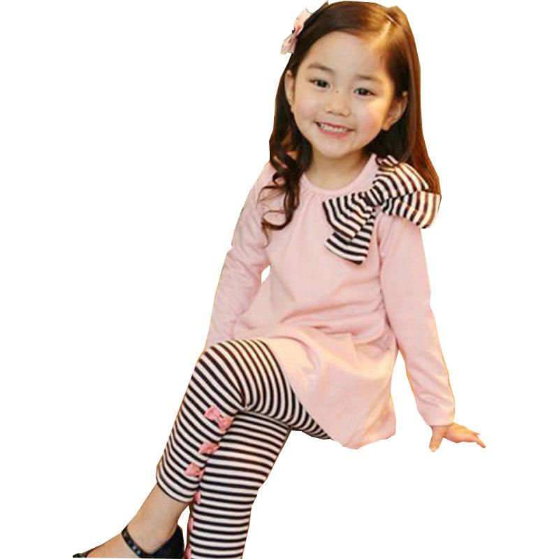 kids Spring Autumn section girls Korean version girls bow shirt stripe leggings children two sets 2 3 4 5 6 7 years