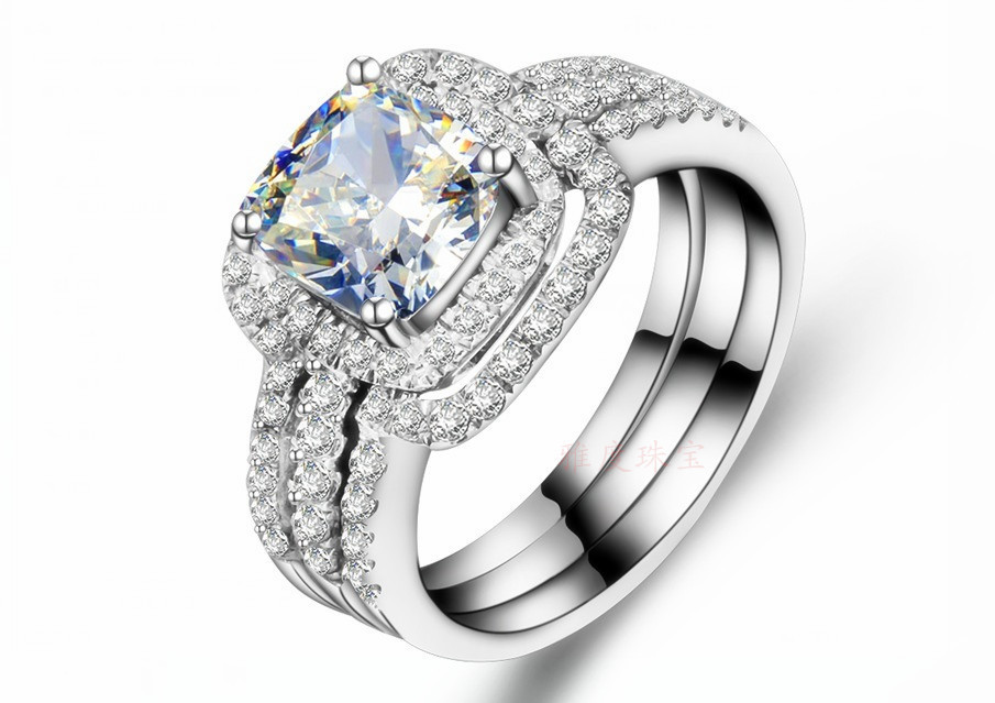 3CT Cushion Synthetic Diamond Ring Set 925 Sterling Silver Wedding Ring Set For Women 18K White Gold Plated Bands Set Wholesale(China (Mainland))