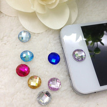 1pcs Multicolor Round Pieces Acrylic Home Button Sticker for Iphone 4s 5 5s 6 Cute Mobile Phone Accessories Phone Stickers(China (Mainland))