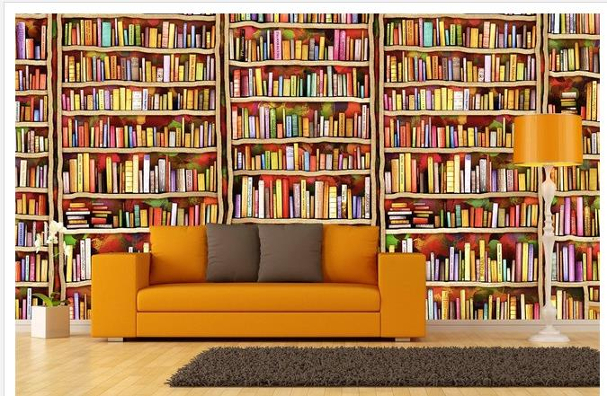 Custom photo wallpaper large 3d sofa tv background for Bookcase wall mural
