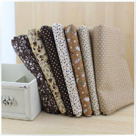 Grátis frete 7 peça 50 cm * 50 cm algodão Fat Quarter Bundle Vintage Brown Quilting Patchwork Tilda costura baratos tecidos(China (Mainland))