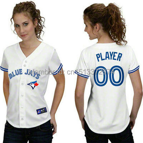 women buy online custom made baseball jerseys Toronto Blue Jays white customized Your Name Number mix order ,embroidered logos(China (Mainland))