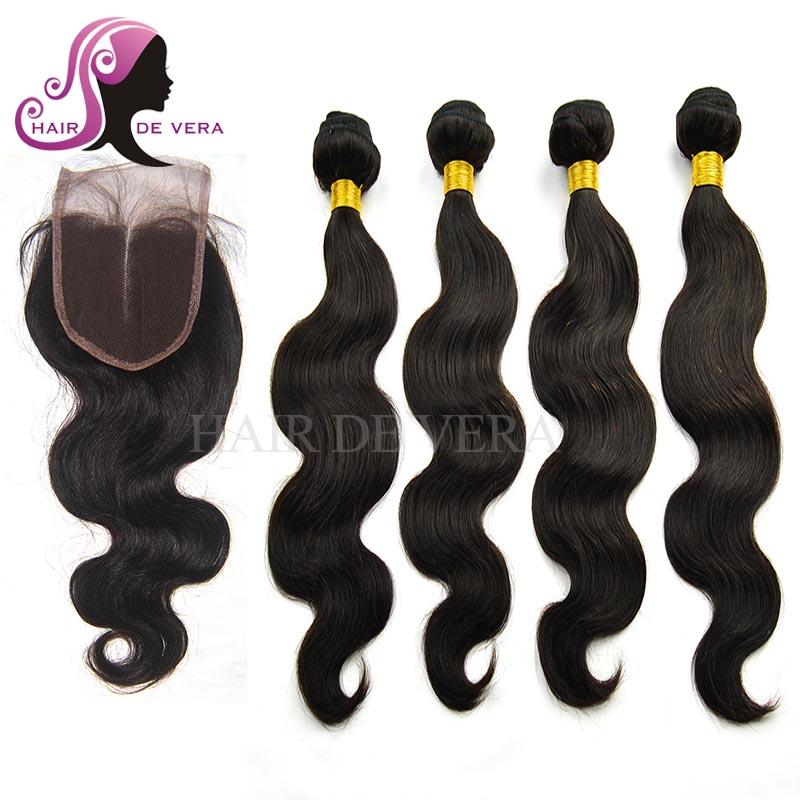 Brazilian Virgin Hair With Closure 100% Human Hair Weave 4 Bundles With Closure Brazilian Virgin Hair Body Wave With Closure