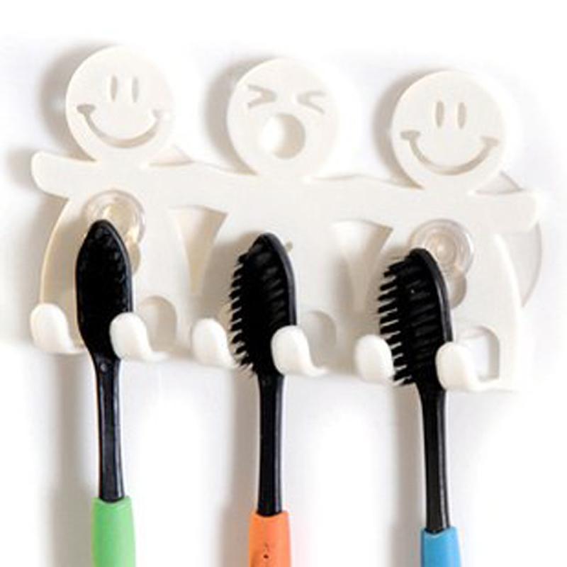 bathroom sets cute Cartoon sucker toothbrush holder / suction hooks 5 position tooth brush holder L4A27