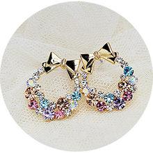 2018 New Colorful Imitation Crystal Rhinestone Bow Stud Earrings(China)