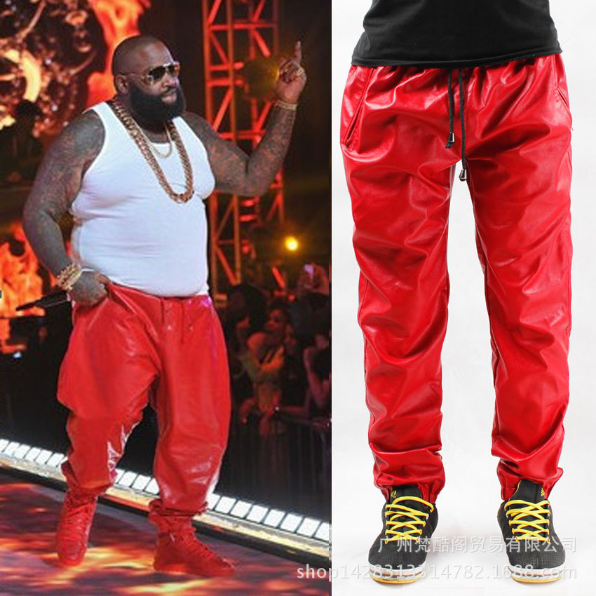 Cool hip hop leather sweatpants men Black RED Leather Jogging Sweat pants Trackpants big size 28 to 40(China (Mainland))
