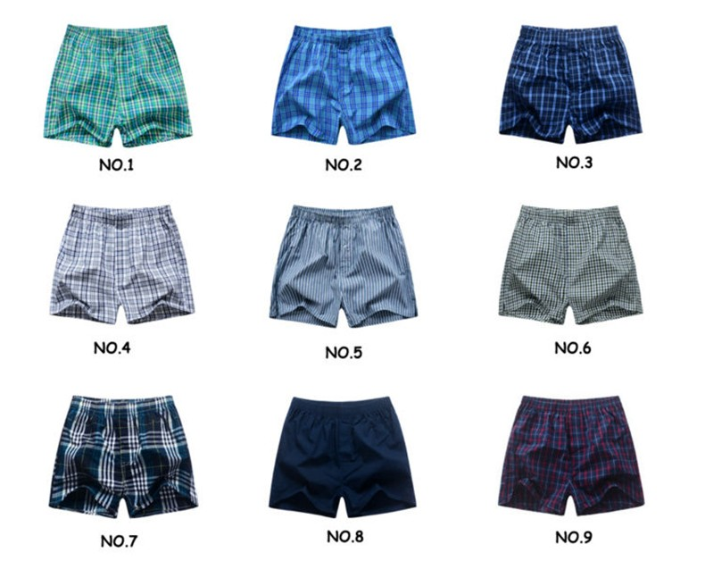 Boxers Short men breathable underwear High quality plaid Mens under pant Coon mens bodysuit European Russian size 3XL B01