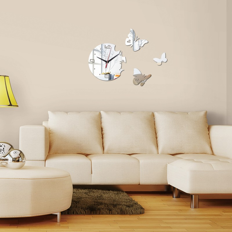 Compare prices on butterfly stills online shopping buy for 3d acrylic mirror wall sticker clock decoration decor