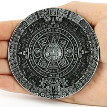 New Fashion Brand Buckles For Mens New Vintage Pewter Aztec Calendar Circle Belt Buckles Mayan Indian(China (Mainland))