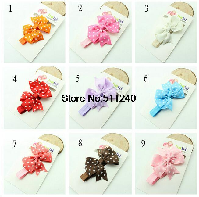 Hair accessories Dot Bow Headband Baby Girl Headbands Solid Color Children Hair Bow Elastic Infant Kids Hairband(China (Mainland))