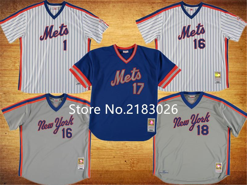 High Quality 2016 New York Mets 18 Darryl Strawberry Jersey 16 Dwight Gooden Stitched Throwback 17 Keith Hernandez Cheap Jerseys(China (Mainland))