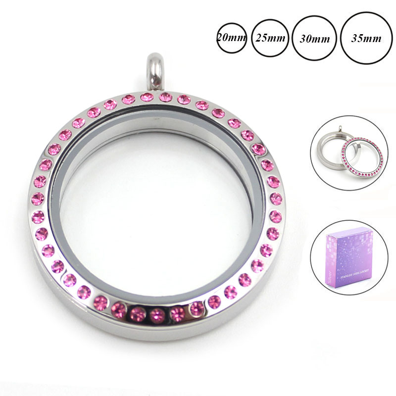Panpan 30mm Silver Screw Top 316L Stainless Steel Floating Locket pink crystals - Pan P Store store