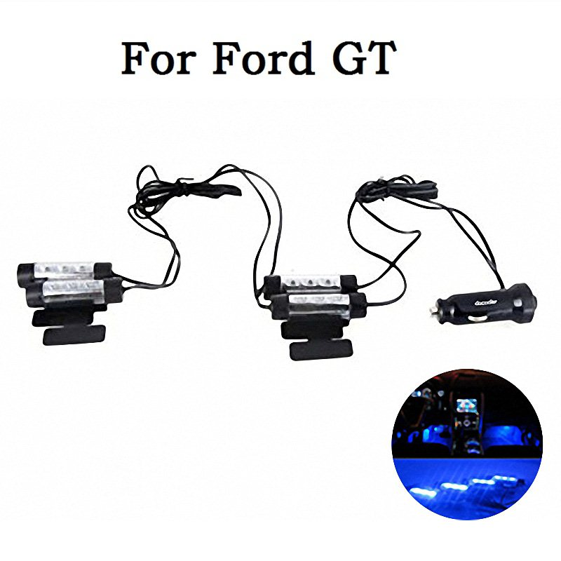 Car Styling 4*3 LED DC 12V Car Auto Interior Atmosphere Lights Decoration Lamp Blue Car Light Source For Ford GT(China (Mainland))