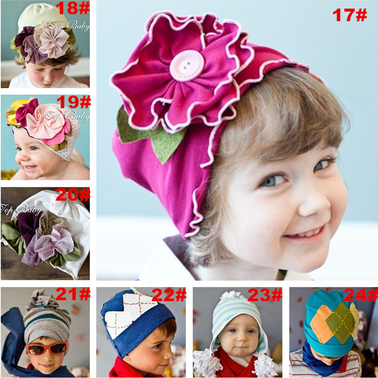 Hat Baby Big Flower Hat Pure Cotton New-Born Baby Girls Beanie Autumn Winter Lovely Beanies Hats Caps For Boys/Girls CW-15(China (Mainland))