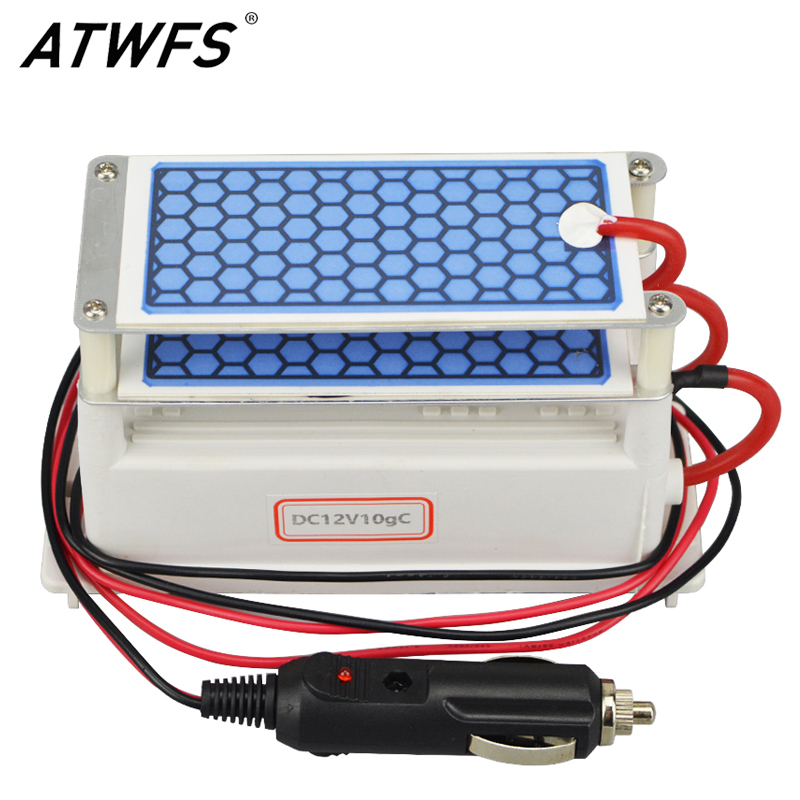 ATWFS Newest Car Portable Ozone Generator 12v 10g Ozonizer Air Cleaner Car Purifier Ozone Ceramic Plate Air Sterilizer Filter(China (Mainland))